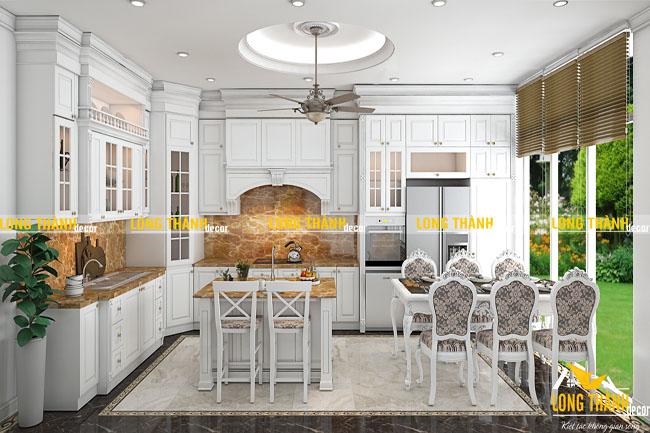 Tủ bếp gỗ tự nhiên sơn trắng LT25