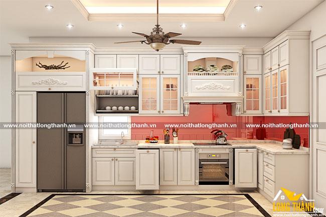 Tủ bếp gỗ tự nhiên sơn trắng LT26
