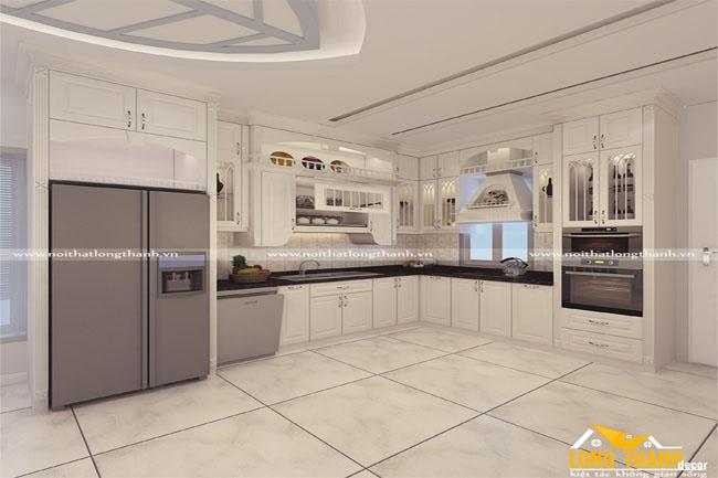 Tủ bếp gỗ tự nhiên sơn trắng LT27