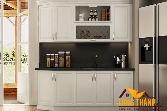 Thiết kế nội thất tủ bếp gỗ tự nhiên sơn trắng LT29