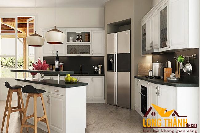 Tủ bếp gỗ tự nhiên sơn trắng LT29