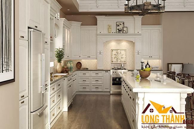 Thiết kế nội thất tủ bếp gỗ tự nhiên sơn trắng LT30 năm 2017