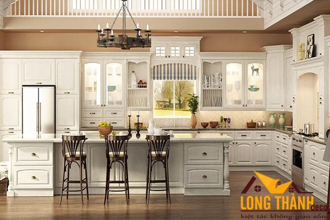 Tủ bếp gỗ tự nhiên sơn trắng LT30
