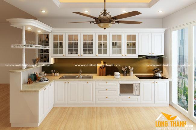 Tủ bếp gỗ tự nhiên sơn trắng LT35