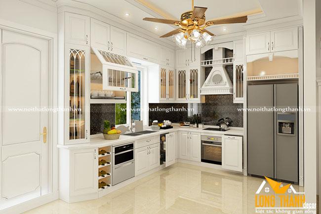 Tủ bếp gỗ tự nhiên sơn trắng LT36