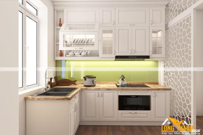 Tủ bếp gỗ tự nhiên sơn trắng LT39