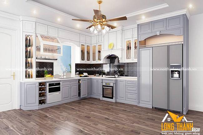 Tủ bếp gỗ tự nhiên sơn trắng LT40