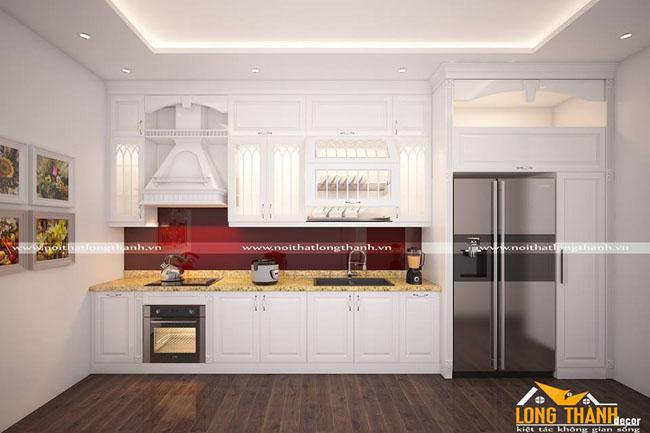 Mẫu thiết kế tủ bếp gỗ tự nhiên sơn trắng LT42