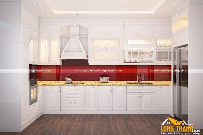 Tủ bếp gỗ tự nhiên sơn trắng LT42