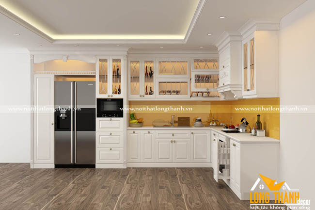 Tủ bếp gỗ tự nhiên sơn trắng LT43