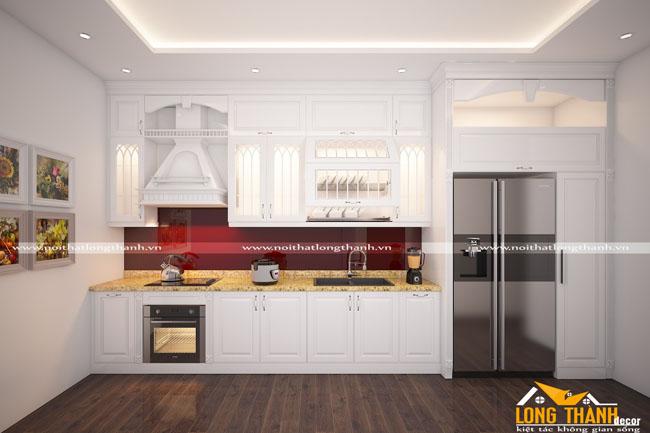 Tủ bếp gỗ tự nhiên sơn trắng LT44