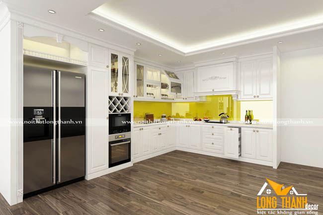 Tủ bếp gỗ tự nhiên sơn trắng LT45
