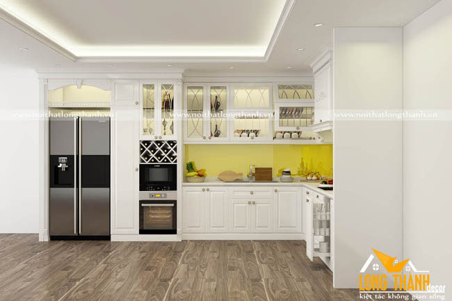 Mẫu tủ bếp gỗ tự nhiên sơn trắng LT45