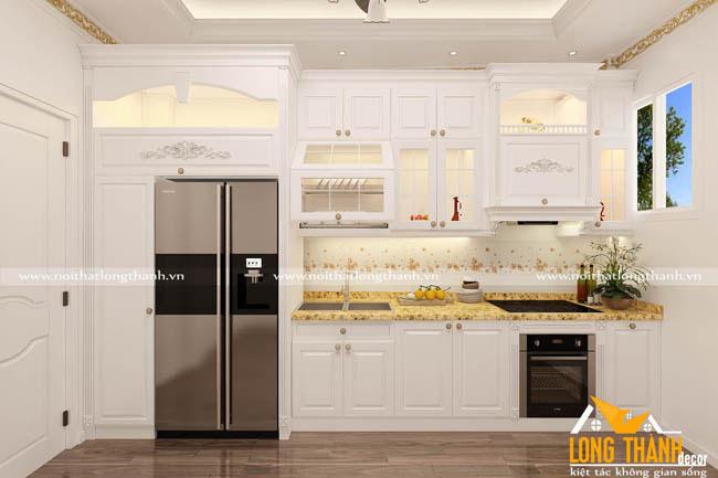 Tủ bếp gỗ tự nhiên sơn trắng LT46