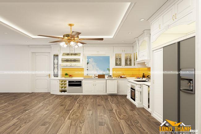 Mẫu thiết kế tủ bếp gỗ tự nhiên sơn trắng LT47