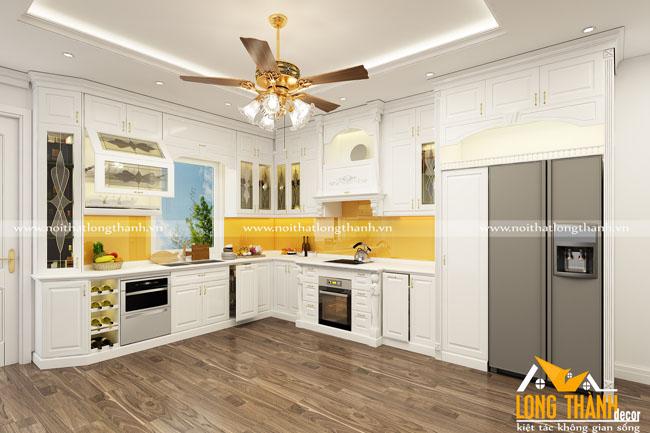 Tủ bếp gỗ tự nhiên sơn trắng LT47