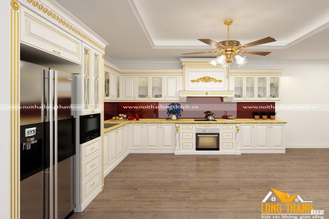 Mẫu thiết kế tủ bếp gỗ tự nhiên sơn trắng LT48
