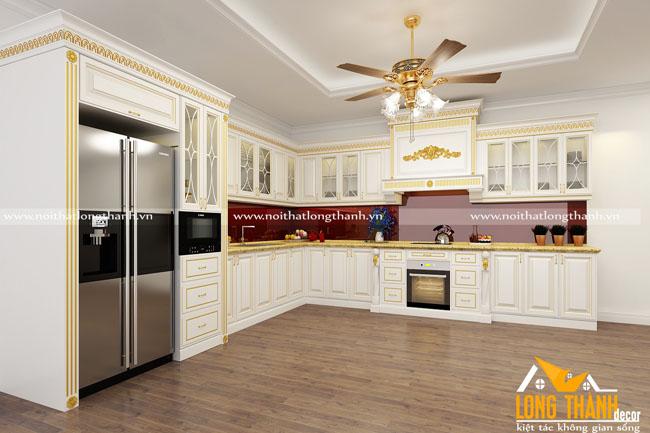 Tủ bếp gỗ tự nhiên sơn trắng LT48