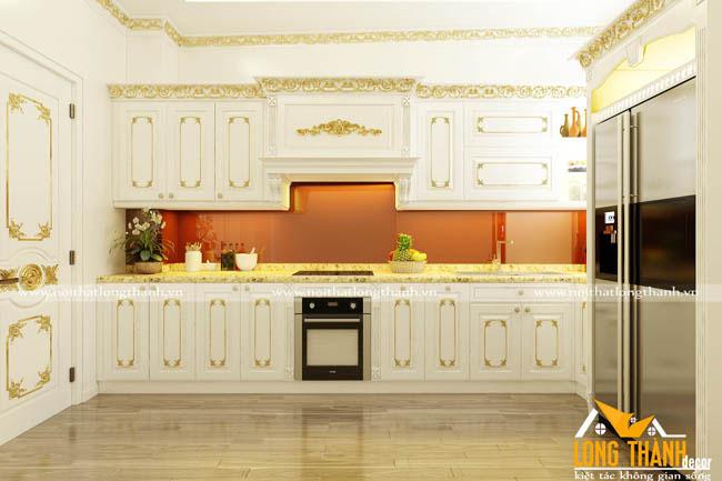 Tủ bếp gỗ tự nhiên sơn trắng LT49