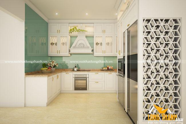 Mẫu thiết kế tủ bếp gỗ tự nhiên sơn trắng LT50