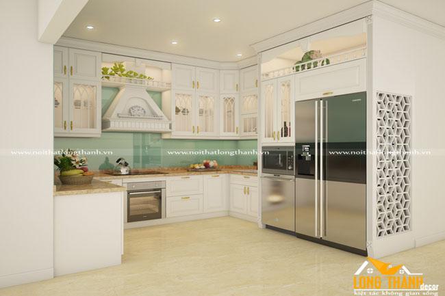Tủ bếp gỗ tự nhiên sơn trắng LT50