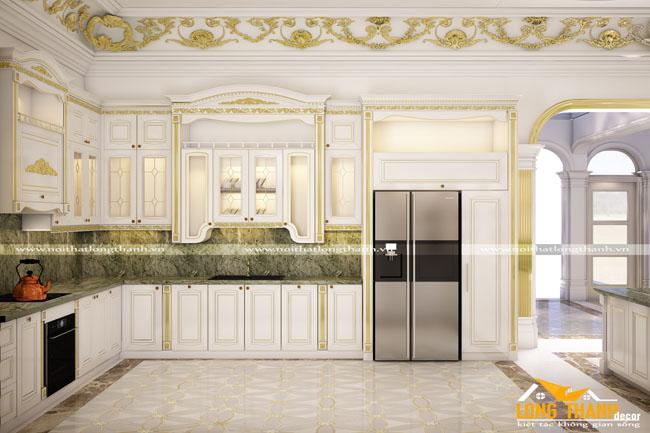 Mẫu thiết kế tủ bếp gỗ tự nhiên sơn trắng LT51