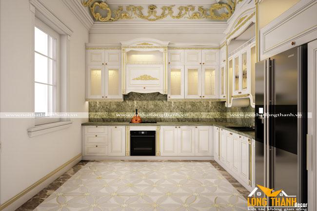 Tủ bếp gỗ tự nhiên sơn trắng LT51