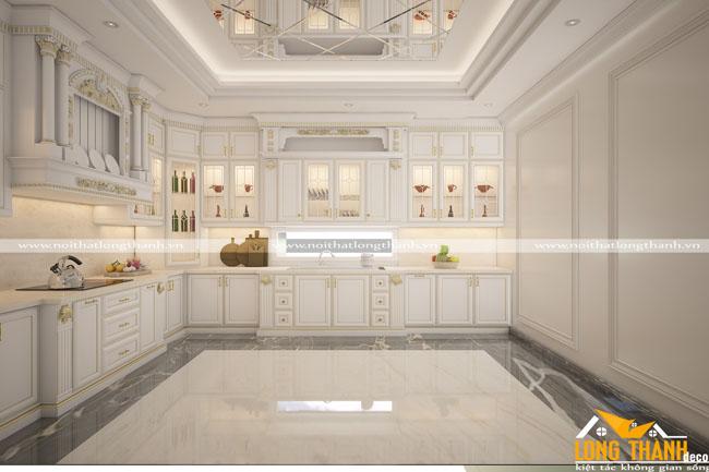 Tủ bếp gỗ tự nhiên sơn trắng LT52