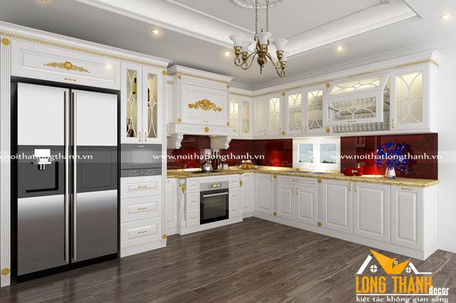 Tủ bếp gỗ tự nhiên sơn trắng LT53