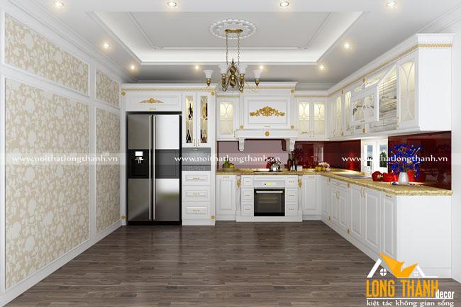 Mẫu tủ bếp gỗ tự nhiên sơn trắng LT53