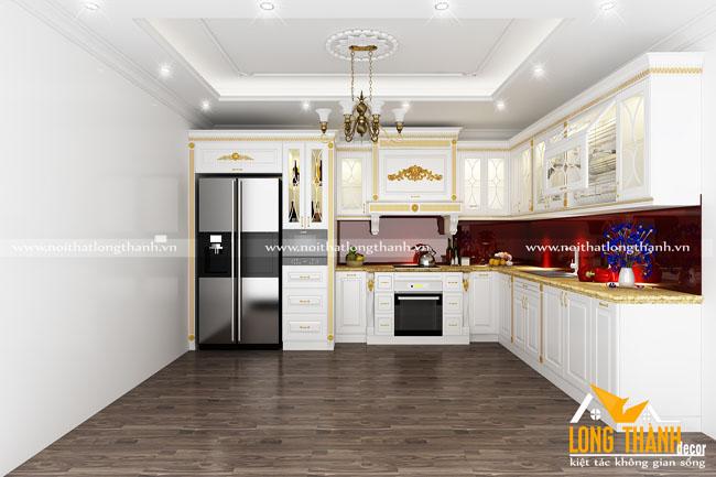 Tủ bếp gỗ tự nhiên sơn trắng LT54