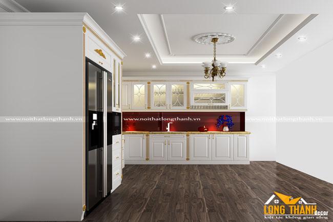 Mẫu tủ bếp gỗ tự nhiên sơn trắng LT54
