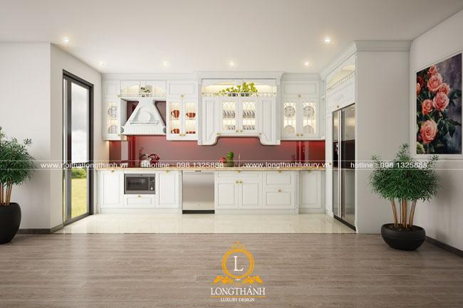 Tủ bếp gỗ tự nhiên sơn trắng LT55