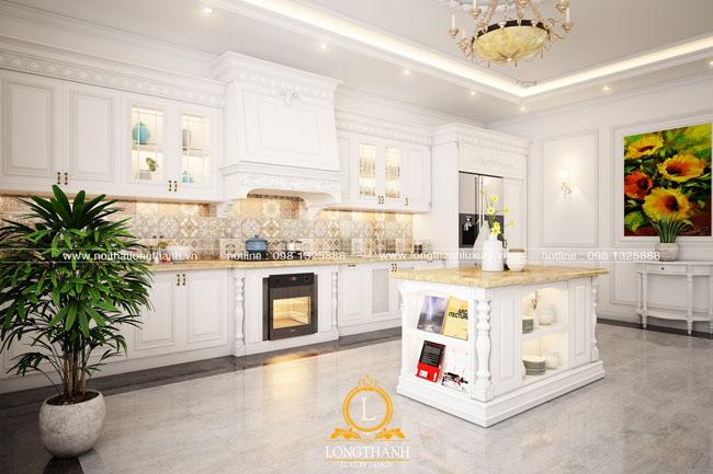 Mẫu tủ bếp Gỗ tự nhiên sơn trắng LT56