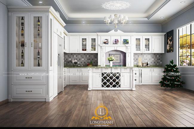 Tủ bếp gỗ tự nhiên sơn trắng LT57