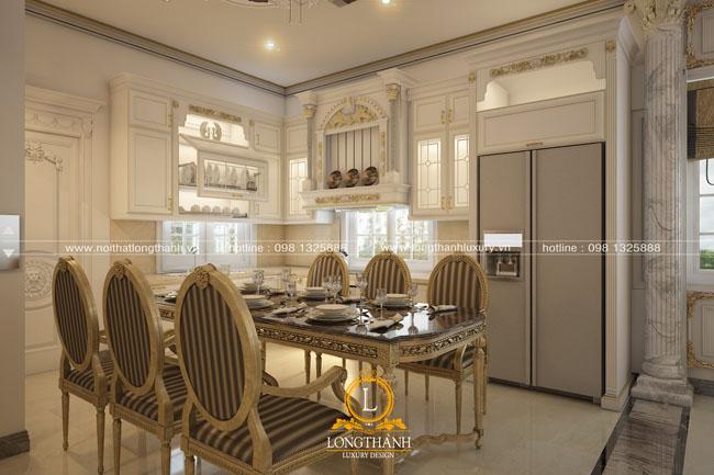 Tủ bếp gỗ tự nhiên sơn trắng đẹp LT 58 góc nhìn thứ 2