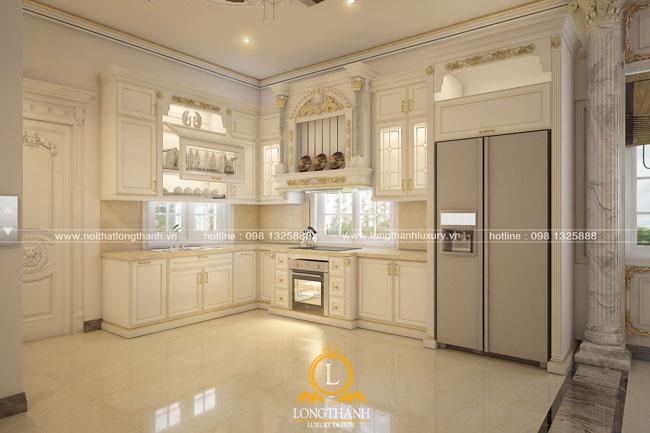 Thiết kế tủ bếp gỗ tự nhiên sơn trắng LT58