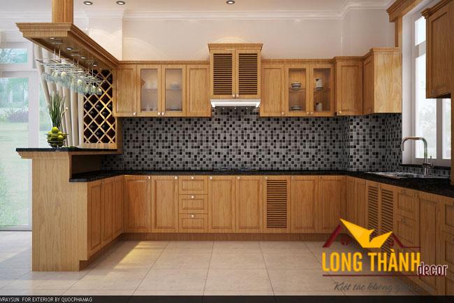 Tủ bếp gỗ veneer LT05