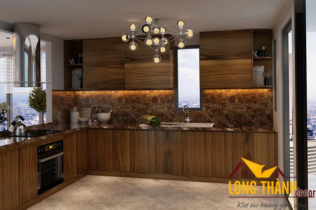 Tủ bếp gỗ Veneer LT09