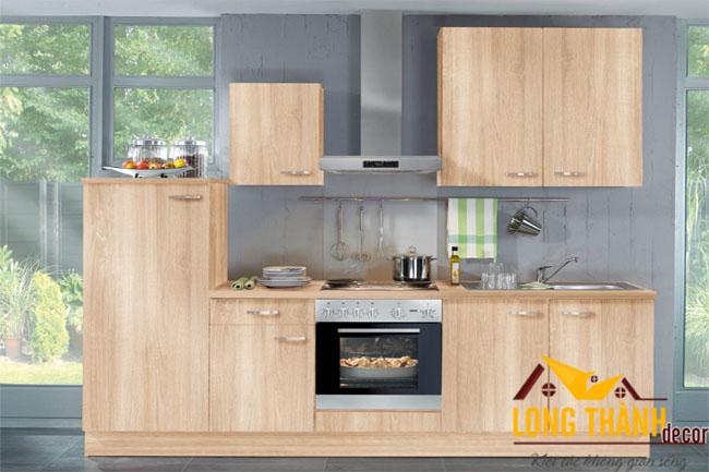 Mẫu tủ bếp hiện đại LT14 bằng gỗ Veneer