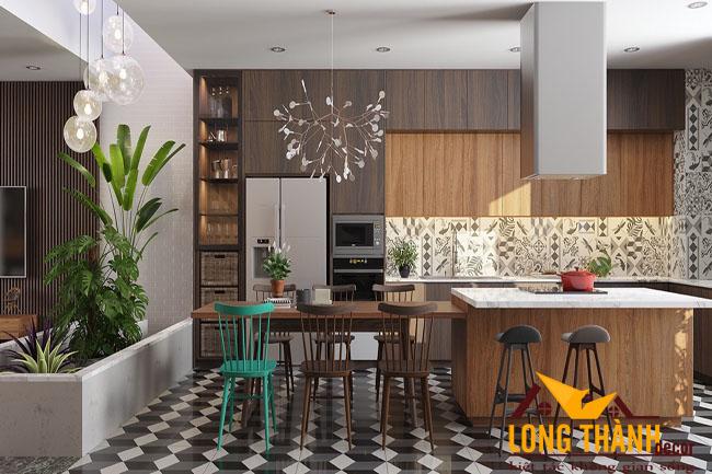 Tủ bếp gỗ Veneer LT18