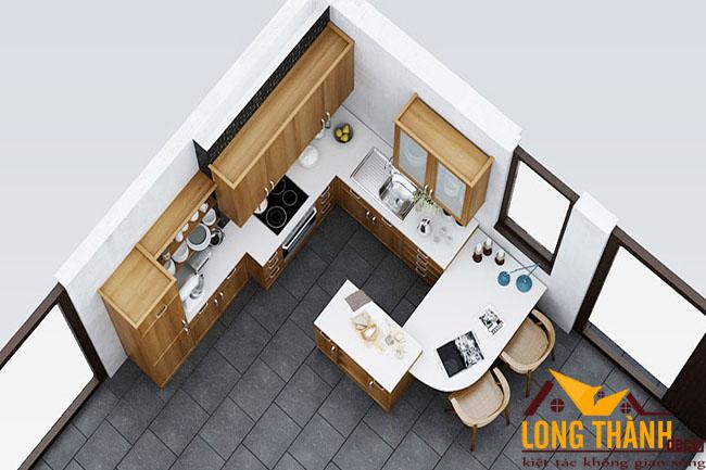 Thiết kế nội thất tủ bếp gỗ Veneer LT23
