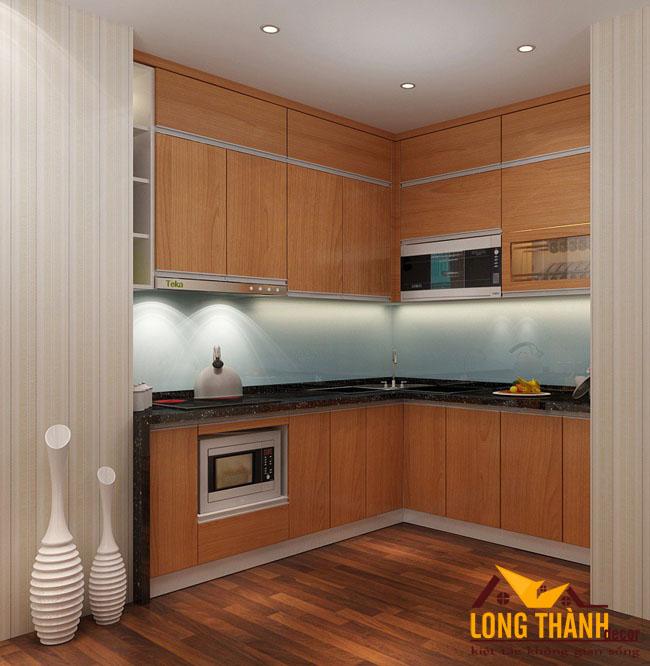 Mẫu tủ bếp gỗ Veneer LT25 năm 2017