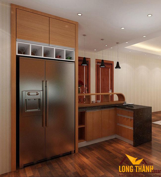 Mẫu tủ bếp gỗ Veneer LT26 năm 2019