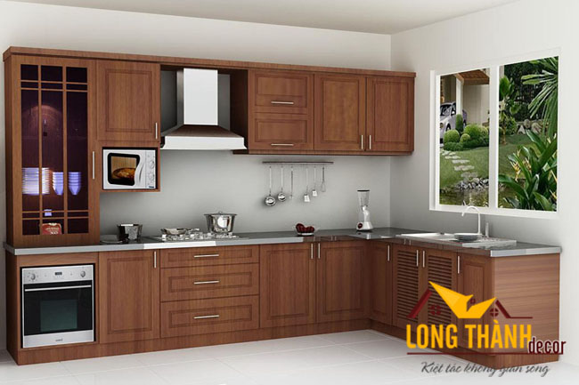 Tủ bếp gỗ veneer LT01