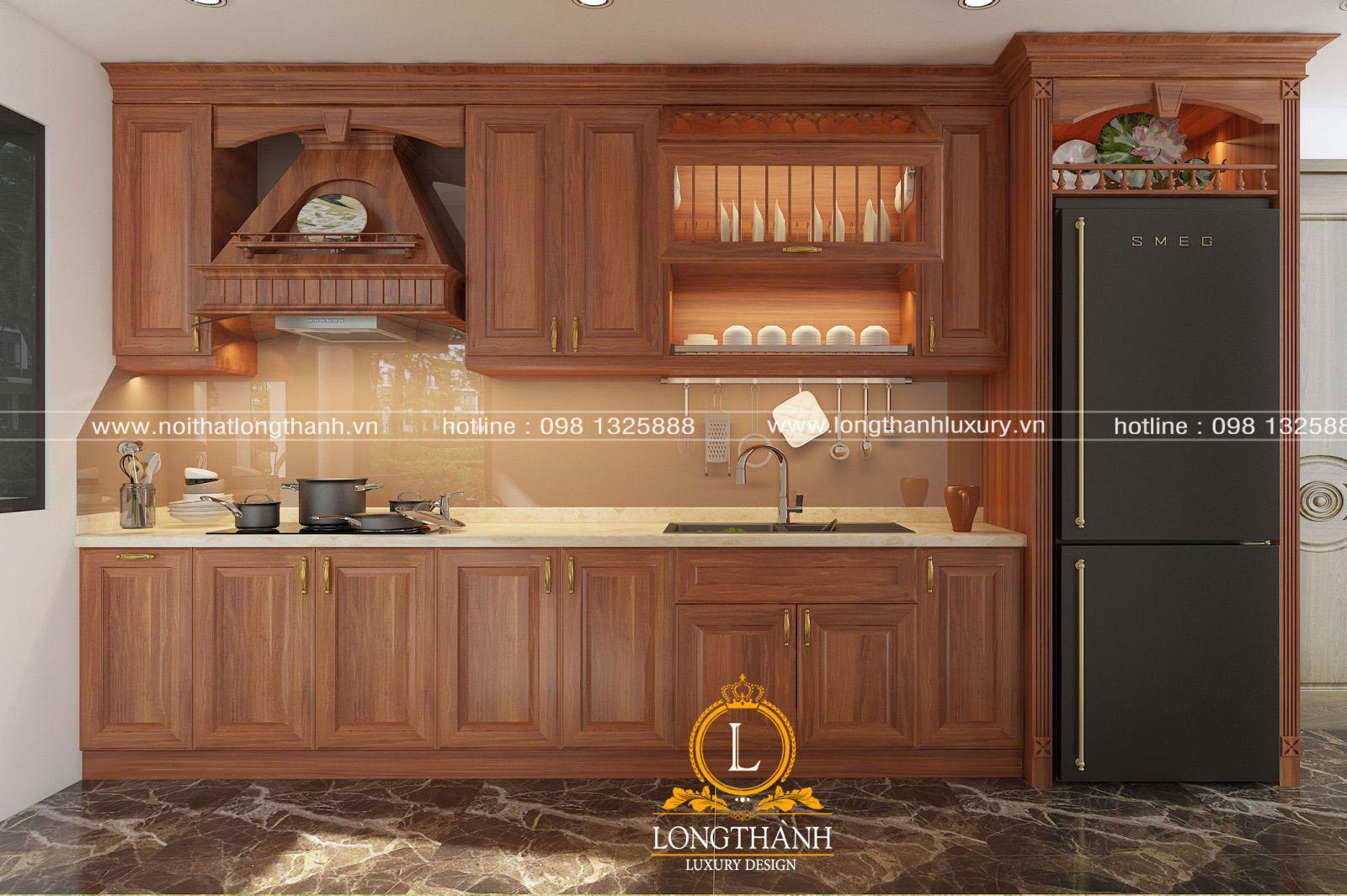 Thiết kế tủ bếp hình chữ I hiện đại cho phòng bếp nhà phố hẹp
