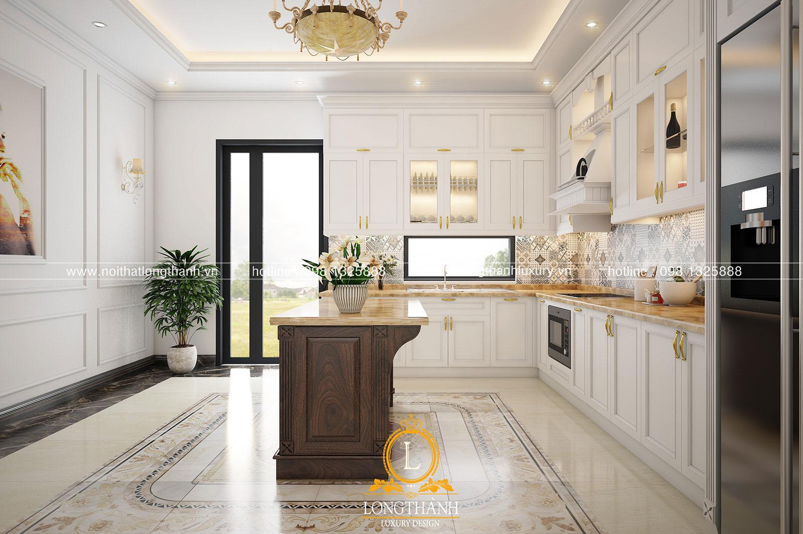 Tủ bếp gỗ tự nhiên sơn trắng đẹp LT 61 góc nhìn thứ 2