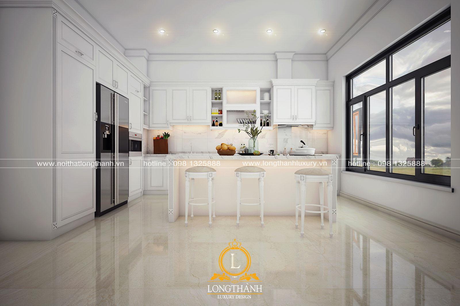 Tủ bếp gỗ tự nhiên sơn trắng đẹp LT 60 góc nhìn thứ 1