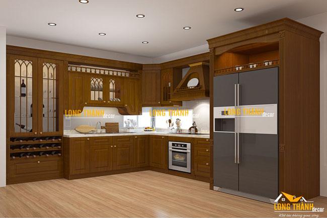Tủ bếp tân cổ điển bằng gỗ Gõ