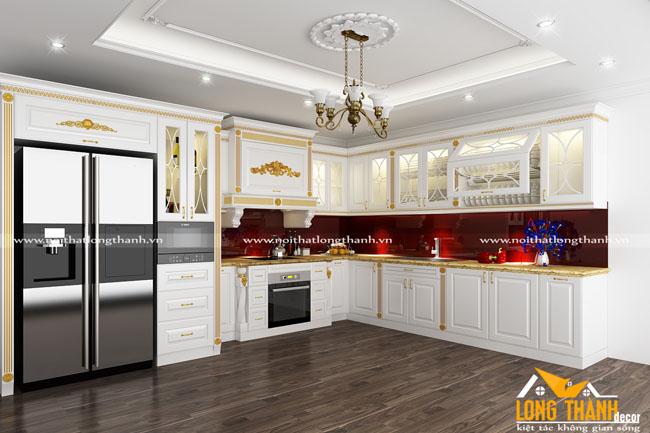 Tủ bếp tân cổ điển dát vàng – sự cách tân nhẹ nhàng cho dòng tủ bếp tân cổ điển năm 2018